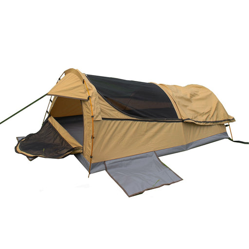 Double Swag Camping Swags Canvas Tent Beige Deluxe Aluminum Poles & Bag