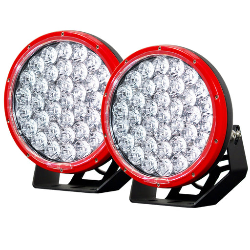 Pair 9inch 370w LED Driving Light Cree Red Round Spotlight BAR Offroad 4x4