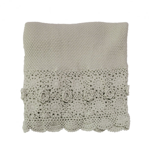 Crochet Taupe Throw by MM Linen