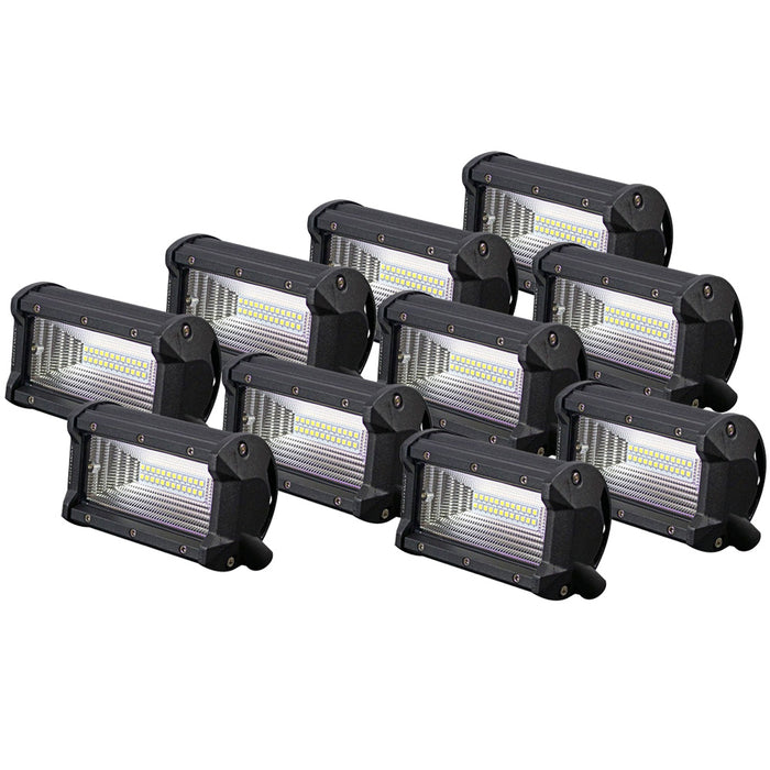 10pcs 5inch Cree LED Work Driving Light Bar Flood Beam Offroad 4x4 SUV ATV Rever