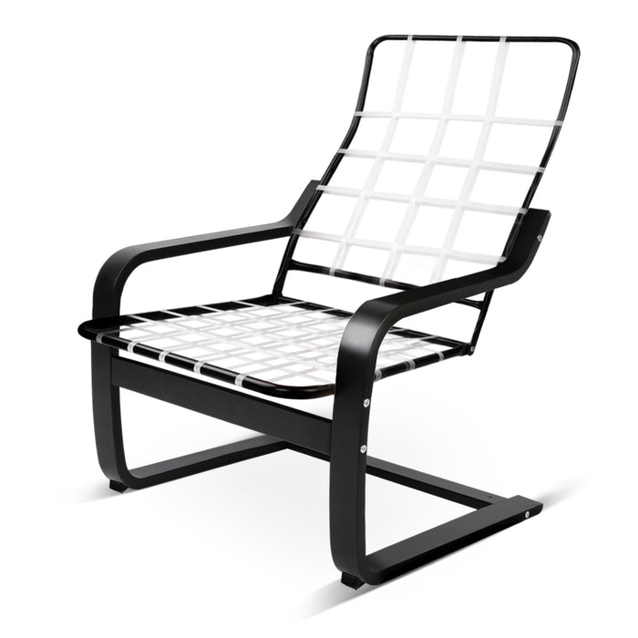 Bentwood Rocking Arm Chair Wooden Adjustable Lounge Fabric Recliner Black