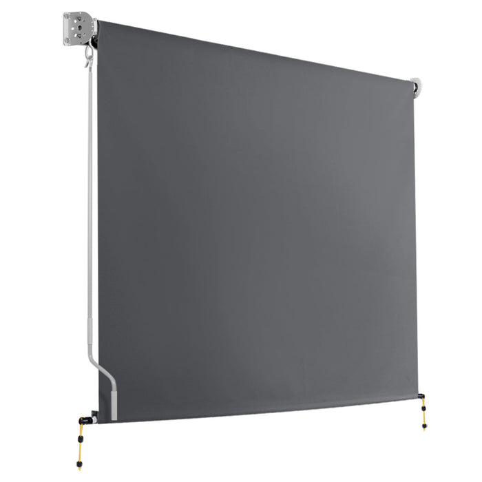 2.1m x 2.5m Retractable Roll Down Awning - Grey