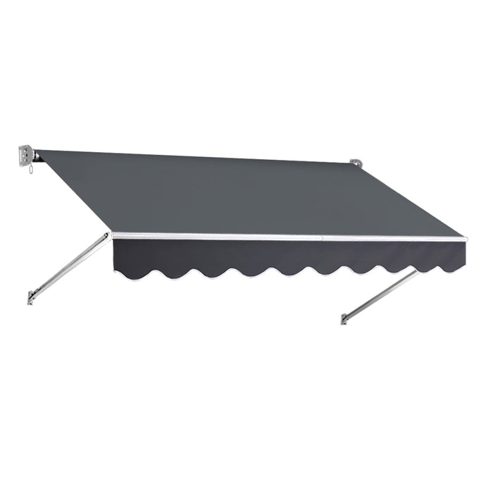 2.4m x 2.1m Retractable Fixed Pivot Arm Awning Waterproof - Grey