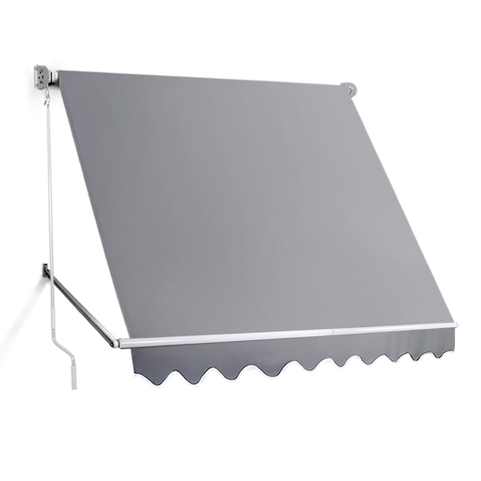 2.4m x 2.5m Retractable Straight Drop Roll Down Awning indoor outdoor Grey
