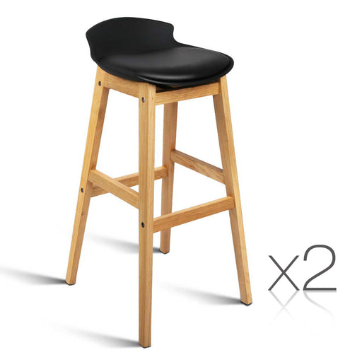Set of 2 High Seat Back Bar Stools - Black