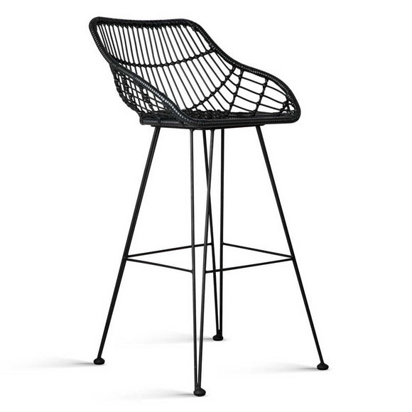 Set of 2 PE Wicker Outdoor Rattan Bar Stool 100% Homemade - Black