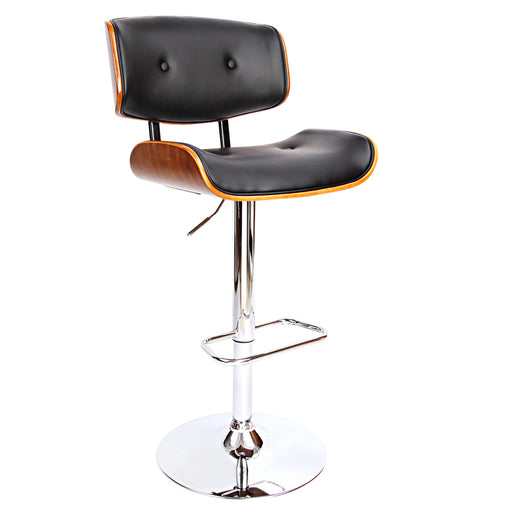 Wooden Bar Stools Kitchen Chair Dining Black Pad Gas Lift Black