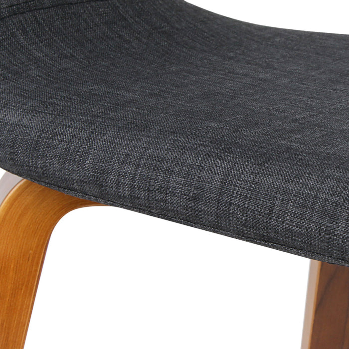 2 x Wooden Bar Stool Padded Fabric Seat Dining Chairs Kitchen - Charcoal