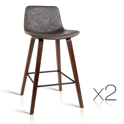 Set of 2 Wooden and Leather Bar Stool Dining Chair Kitchen - Walnut