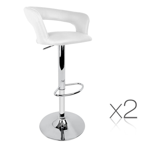 2x PU Leather Swivel Bar stool Kitchen Dining Chair Gas Lift Adjustable - White