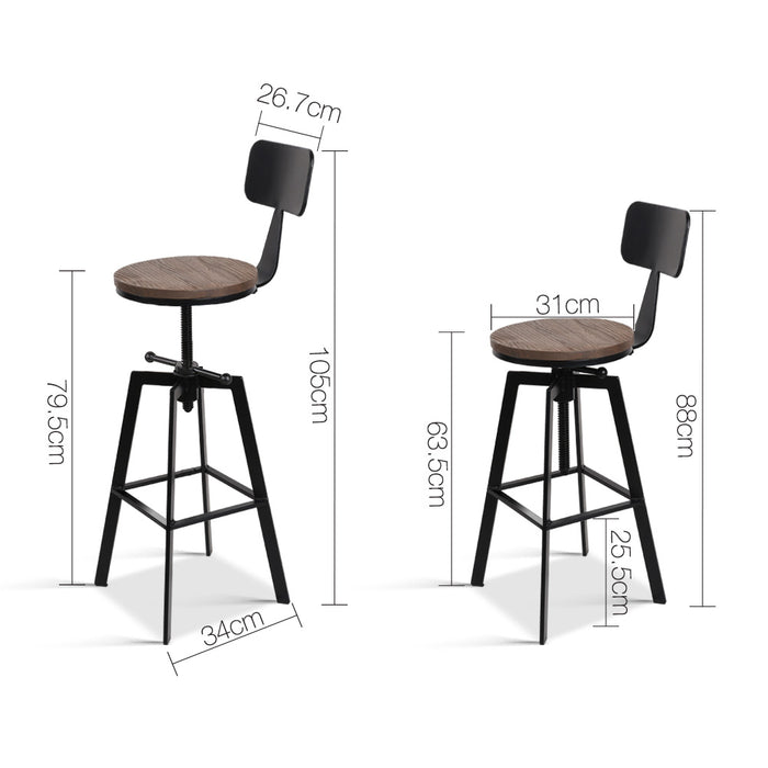 Rustic Industrial Metal Bar Stools Dining Chairs Kitchen