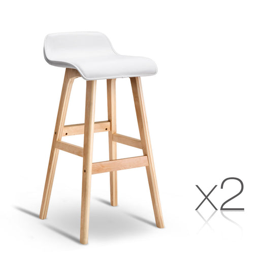 Set of 2 PU Leather and Wood Bar Stool SGS Certified - White