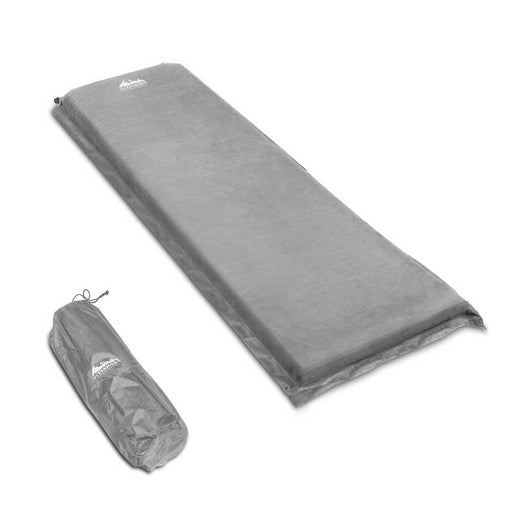 Single Self Inflating Mattress Sleeping Mat Air Bed Camping Hiking Joinable- Grey