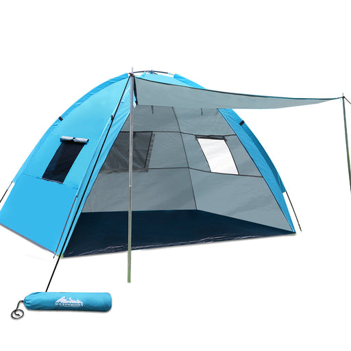Camping Tent Beach Hiking Sun Shade Shelter Fishing 2-4 Person- Blue