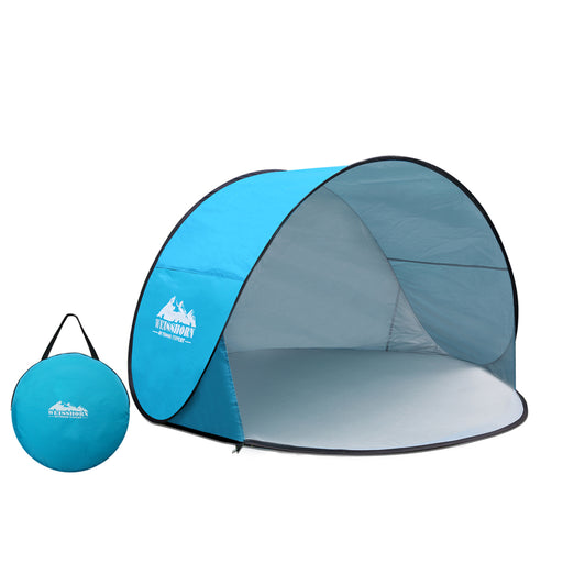 Pop Up Portable Beach Tent Canopy Sun Shade Shelter Summer Camping 3 Persons- Blue