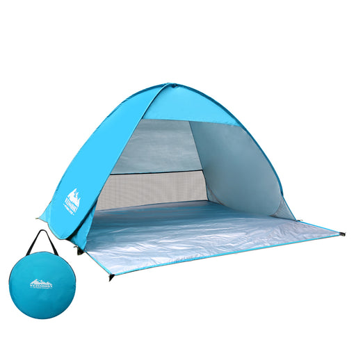 Pop Up Portable Beach Tent Canopy Sun Shade Shelter Summer Camping 4 Persons- Blue
