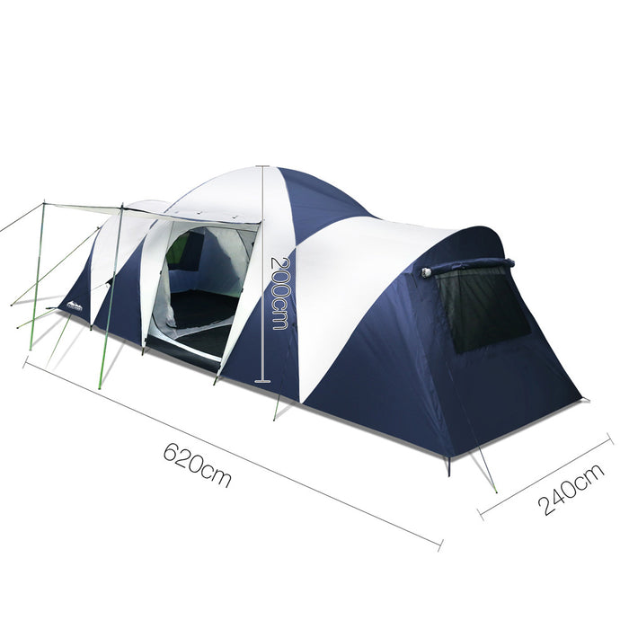 12 Person Family Camping Dome Tent Canvas Swag Hiking Beach - Navy & Grey