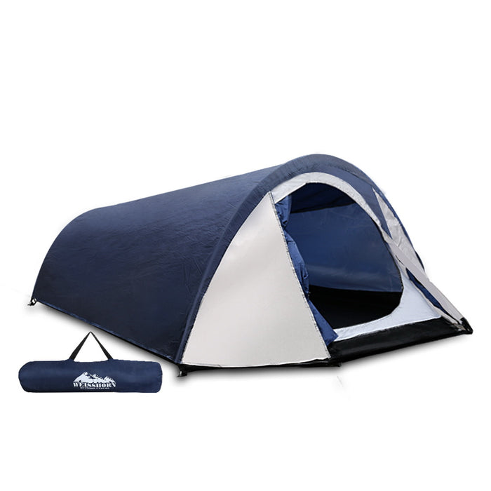 2-4 Person Canvas Dome Camping Tent Navy and White