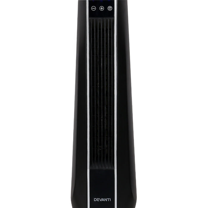 2400W Electric Ceramic Tower Fan Heater Oscillating Remote Black
