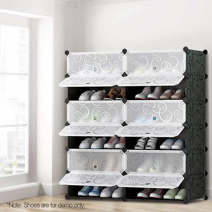 12 Cube DIY Stackable Shoe Rack Storage Cabinet - Black & White