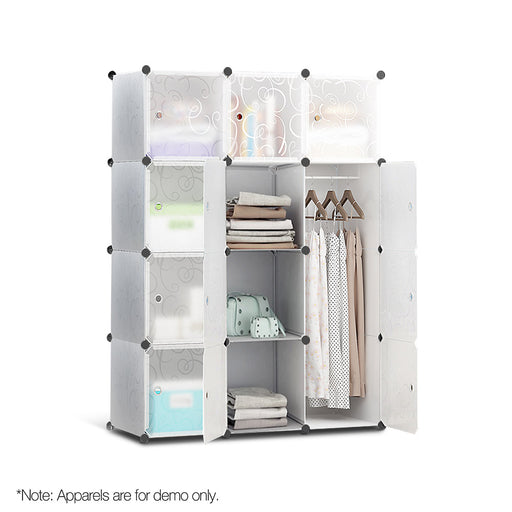 12 Stackable Cube Storage Cabinet - White