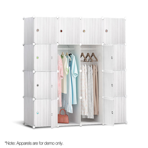 16 Stackable Cube Storage Cabinet - White