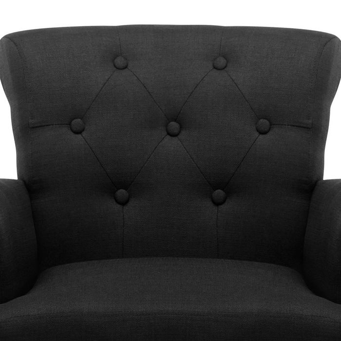 Artiss French Lorraine Chair Retro Wing - Black