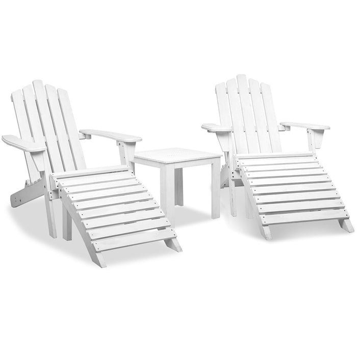 5 Piece Outdoor Beach Chair Table Set Wooden Adirondack Lounge Furniture Garden White