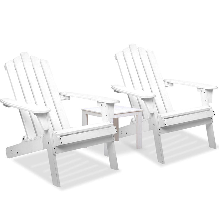 3- Piece Wooden Outdoor Chair and Table Set - White