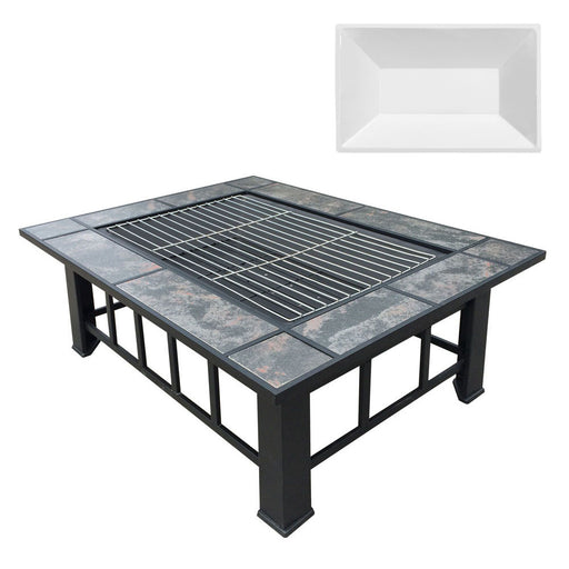 Outdoor Fire Pit BBQ Table Grill  Patio Camping Heater Fireplace Brazier with Ice Tray