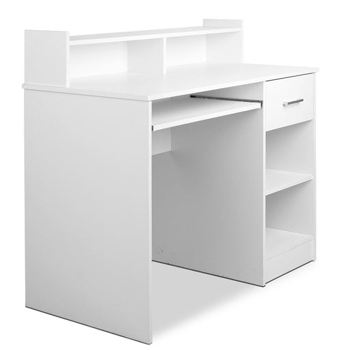 Office Computer Laptop Wooden Desk with Storage Study Table- White