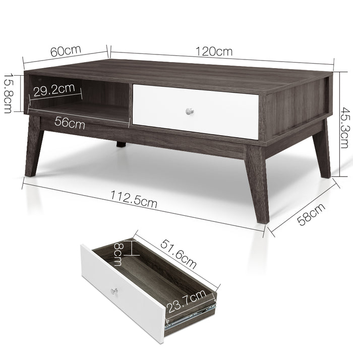 2 Drawer Coffee Table Storage Shelf Living Room Furniture Wood