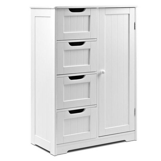 Bathroom Tallboy Storage Cabinet Shelf Drawer Furniture - White