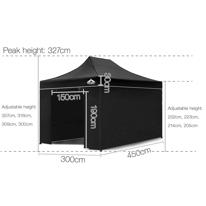 3x4.5m Gazebo Outdoor Pop Up Tent Folding Marquee Party Camping  Black