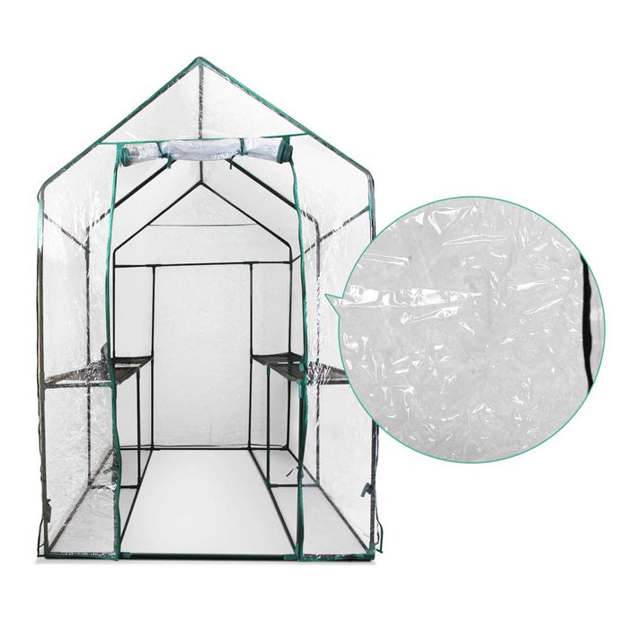 1.9x1.2x1.9M Apex Roof Walk-In Garden Greenhouse Shed with Cover - Transparent