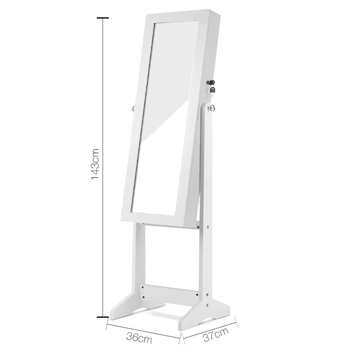 110cm Full-length Dressing Mirrow with Cabinet 2-in-1 - White
