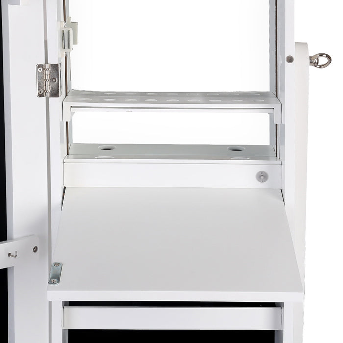 2-in-1 Jewellery Cabinet with Mirrow and LED Light - White