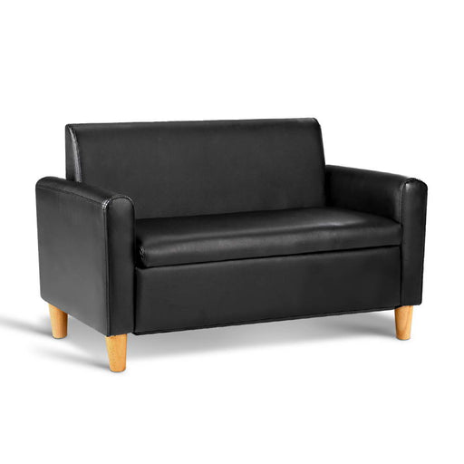 Kid's PU Leather Double Recliner Arm Chair Sofa Children Seat - Black