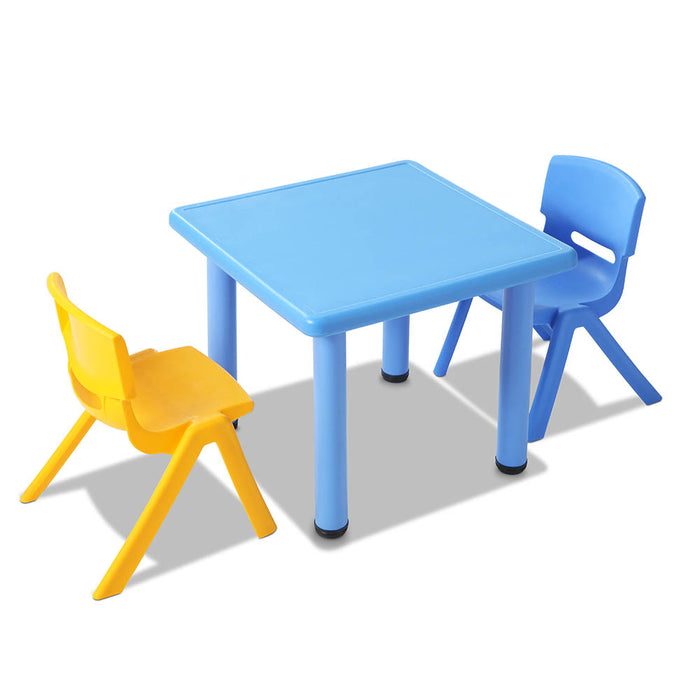 3 Piece Kid's Study Table and Chair Set - Blue
