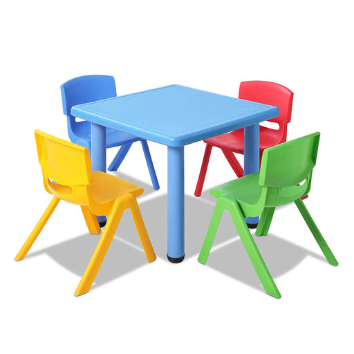 5 Piece Kid's Table and Chair Set Desk Activity Play Study - Blue