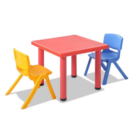 3 Piece Kid's Study Table and Chair Set - Red
