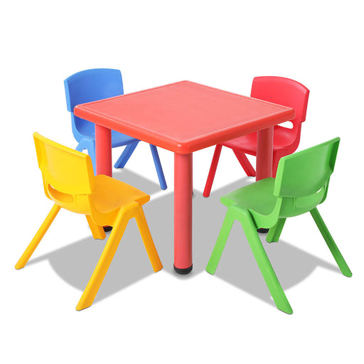 5 Piece Kid's Table and Chair Set Desk Activity Play Study - Red
