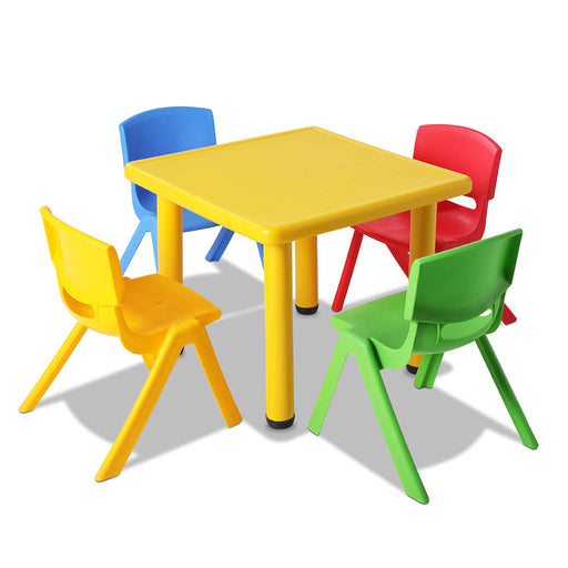 5 Piece Kid's Study Table and Chair Set - Yellow