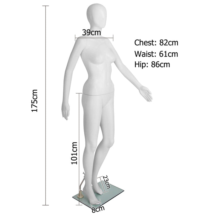 175cm Tall Female Mannequin Full Body Clothes Display Showcase  Detachable-White