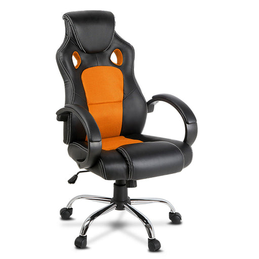 Racing Style Gaming Office Home Chair PU Leather Seat Work - Orange