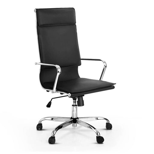 PU Leather Reclinging High Back Office Chair - Black