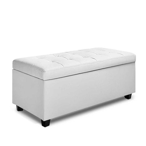 Blanket Box Ottoman Storage Linen Fabric Foot Stool Toy Bed Large Light  White