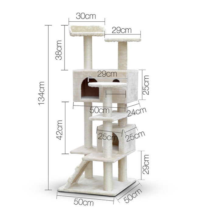 134cm Cat Kitten Tree Tower Post Toy Condo Scratch Post Pet House Play Beige