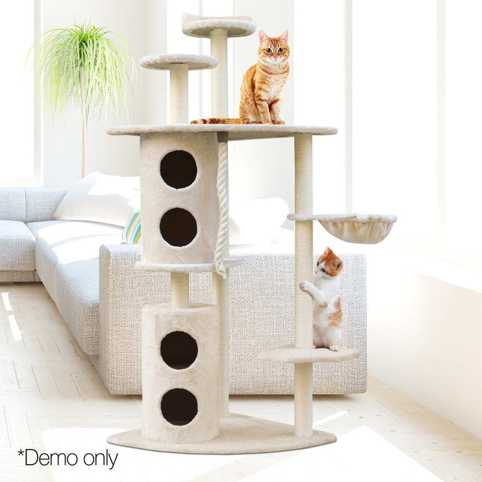 Pet Cat Scratching Tree Post Sisal Pole Toy Furniture Multi level 170cm-Beige