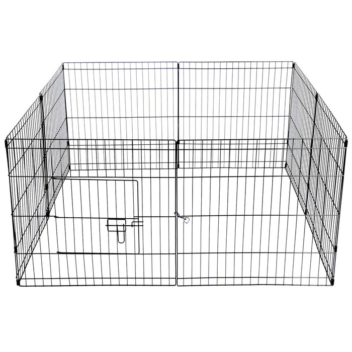 24inch Panel Pet Playpen Portable Exercise Cage Fence Dog Puppy Play Pen - Black